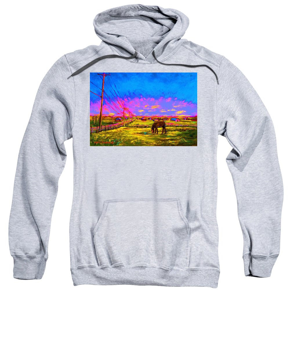 Western Art Sweatshirt featuring the painting The Golden Meadow by Carole Spandau