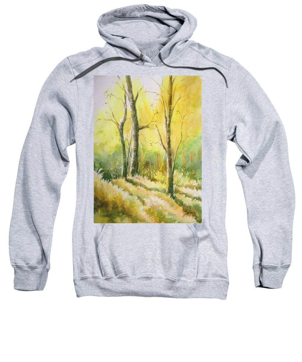 Landscapes Sweatshirt featuring the painting The Golden Trio by Sandeep Khedkar