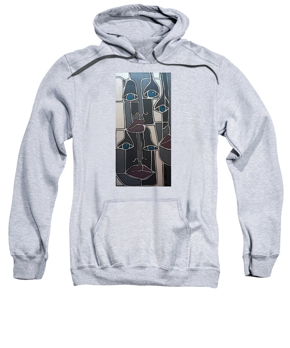 Faces Lips Eyes Noses Gray Gray Blue Gray Red Sweatshirt featuring the painting The Gray Faces by Rick Litteral