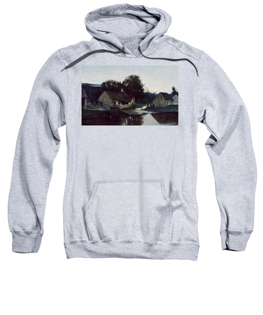 Animal Sweatshirt featuring the painting The Hamlet Of Optevoz by Charles-Francois Daubigny