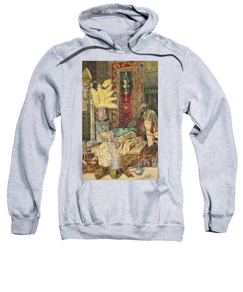 Antonio Rivas Sweatshirt featuring the drawing The Harem by Antonio Rivas