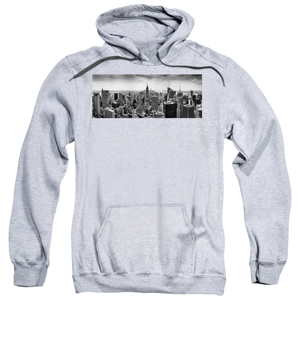 Empire State Building Sweatshirt featuring the photograph New York City Skyline Bw by Az Jackson