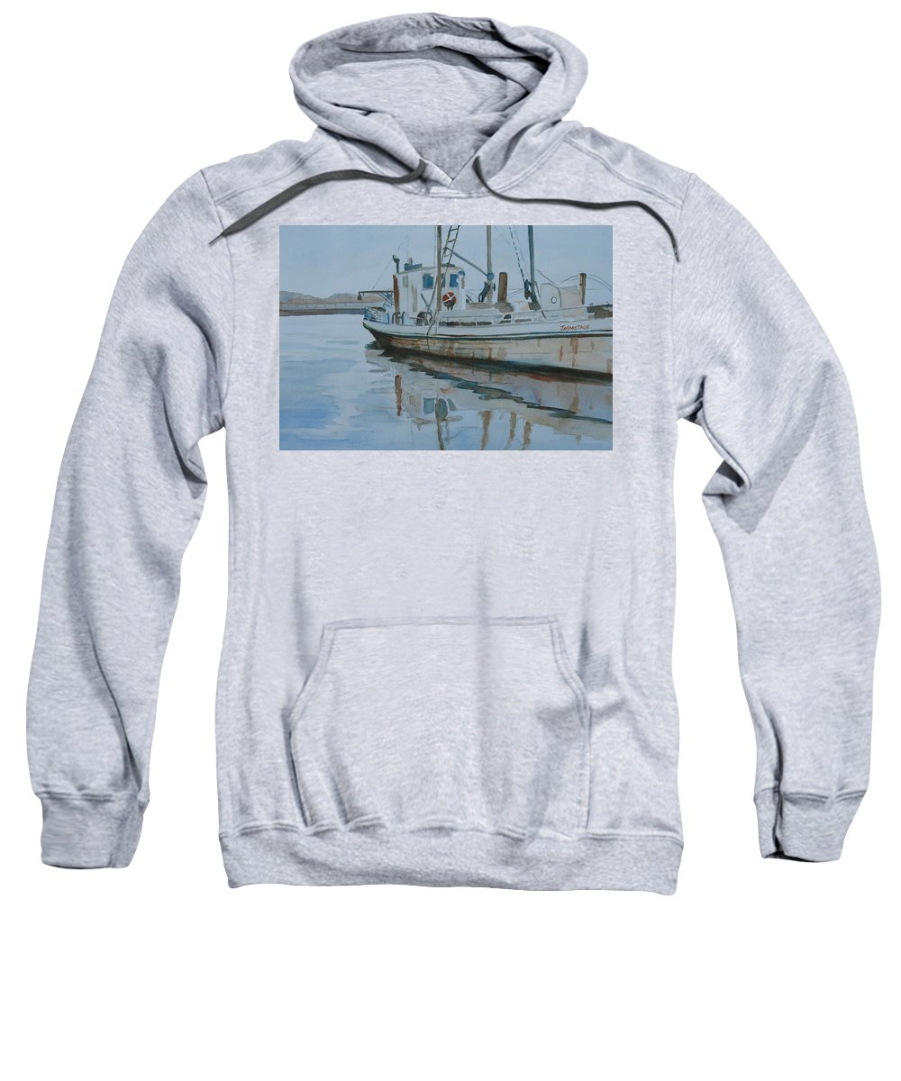 Boat Sweatshirt featuring the painting The Helen Mccoll At Rest by Jenny Armitage