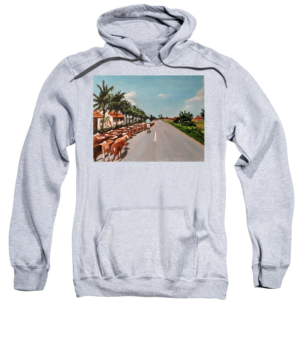 The Sweatshirt featuring the painting The Herd 3 by Usha Shantharam