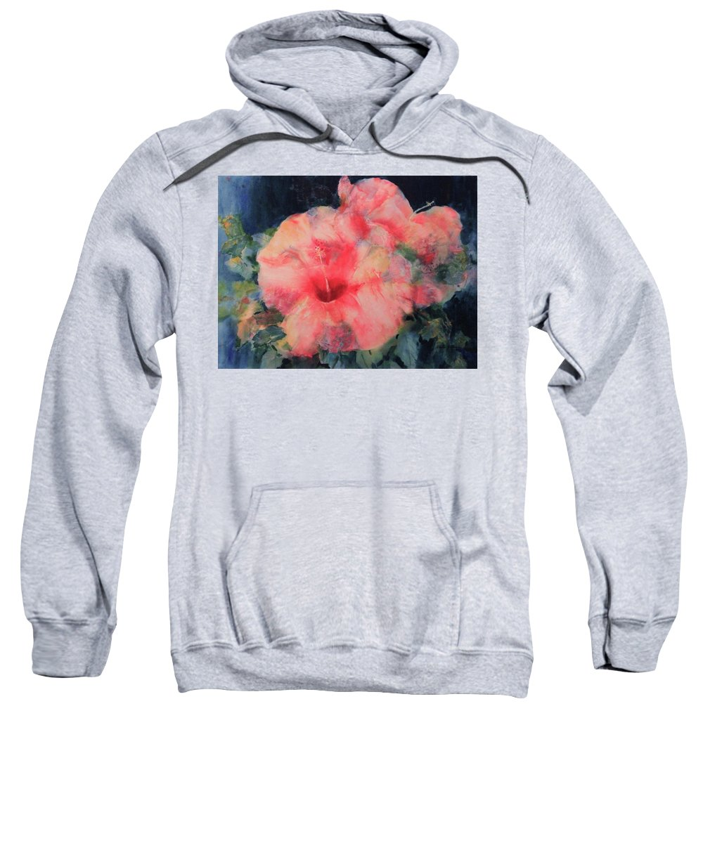 Sharon Sweatshirt featuring the painting The Hibiscus by Sharon K Wilson