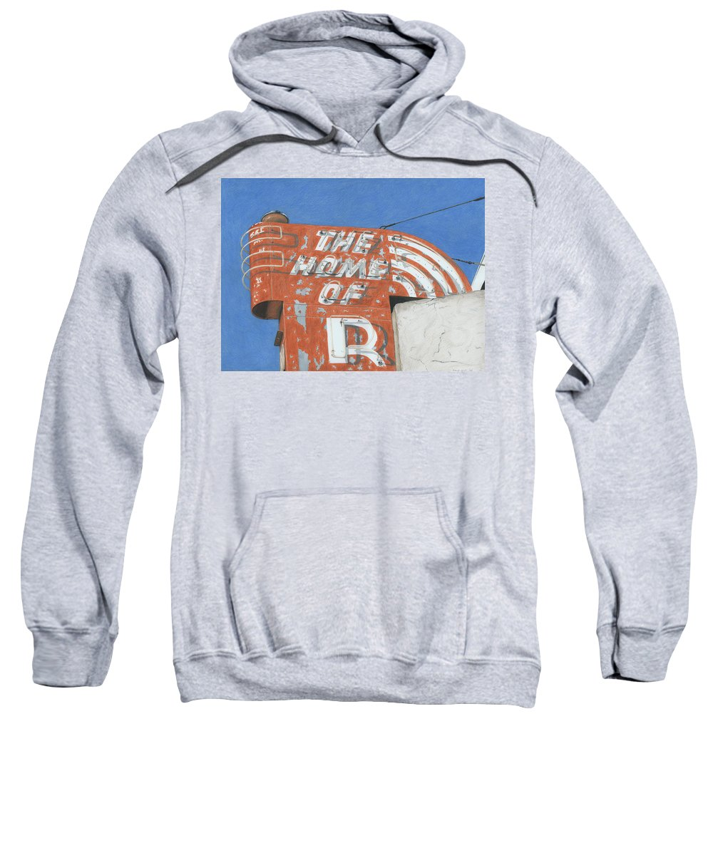 Neon Sign Sweatshirt featuring the drawing The Home Of R by Rob De Vries