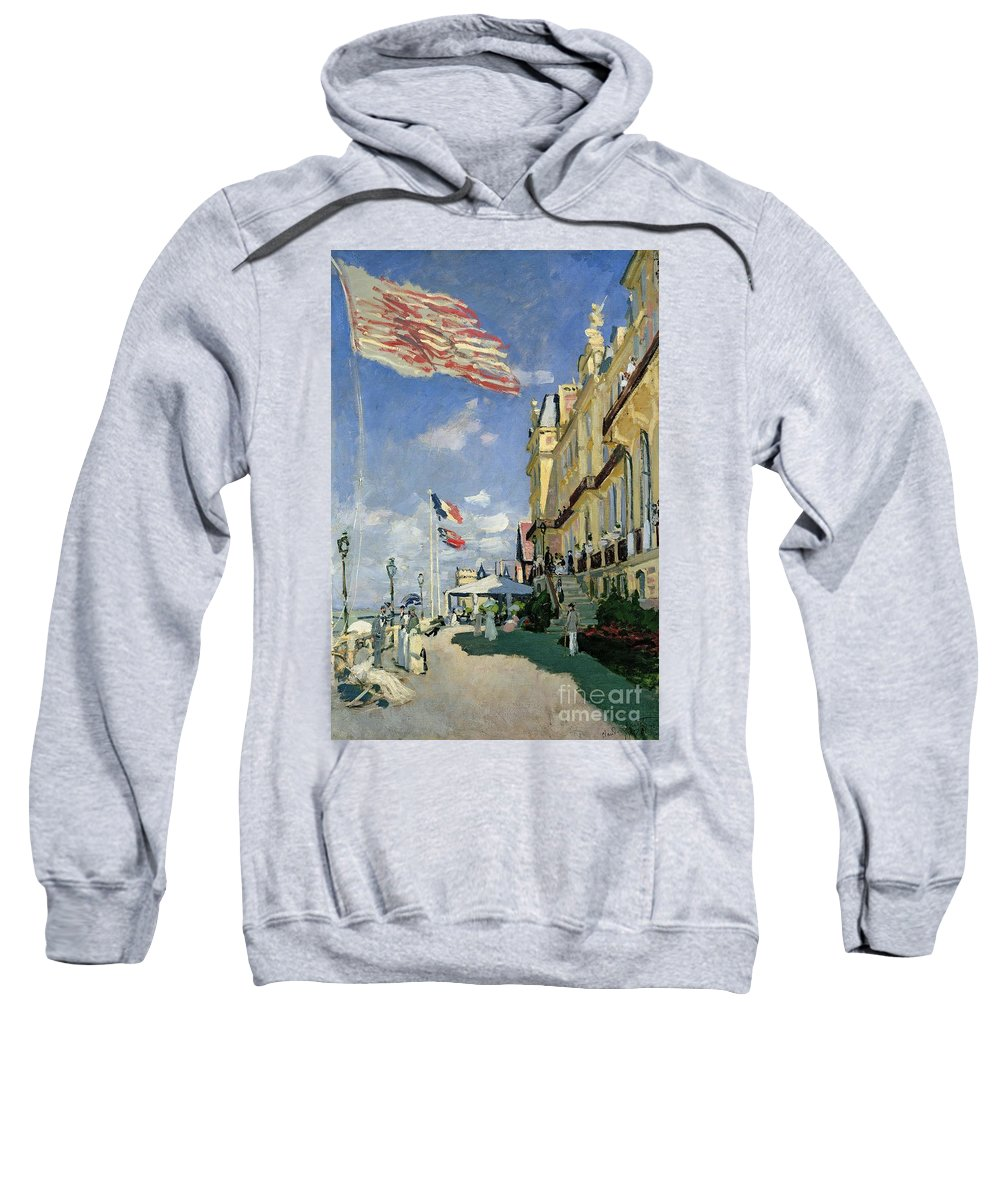Monet Sweatshirt featuring the painting The Hotel Des Roches Noires At Trouville by Claude Monet