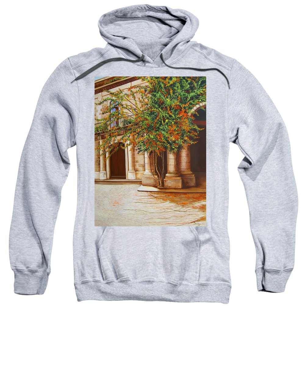 Cuban Painter Sweatshirt featuring the painting The House Of The Marquis Of Clear Water by Dominica Alcantara