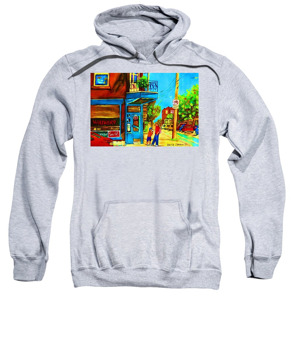 Wilenskys Deli Sweatshirt featuring the painting The Icecream Cone by Carole Spandau