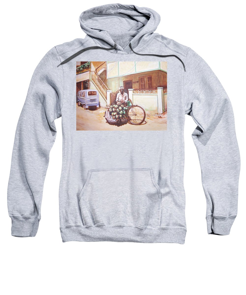 Usha Sweatshirt featuring the painting The Indian Tendor-coconut Vendor by Usha Shantharam
