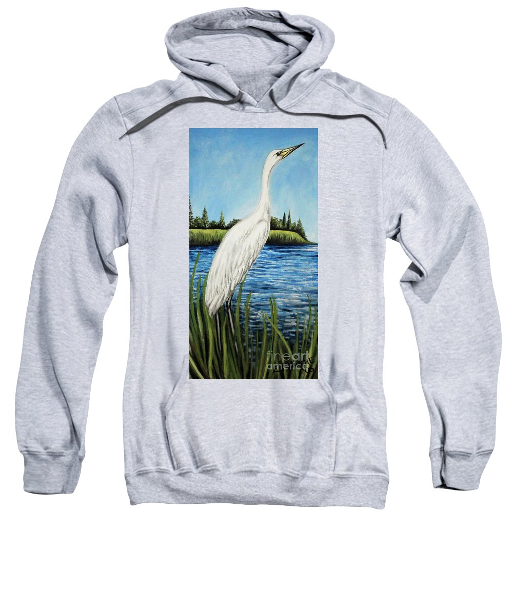 Landscape Sweatshirt featuring the painting The Island's Egret by Elizabeth Robinette Tyndall