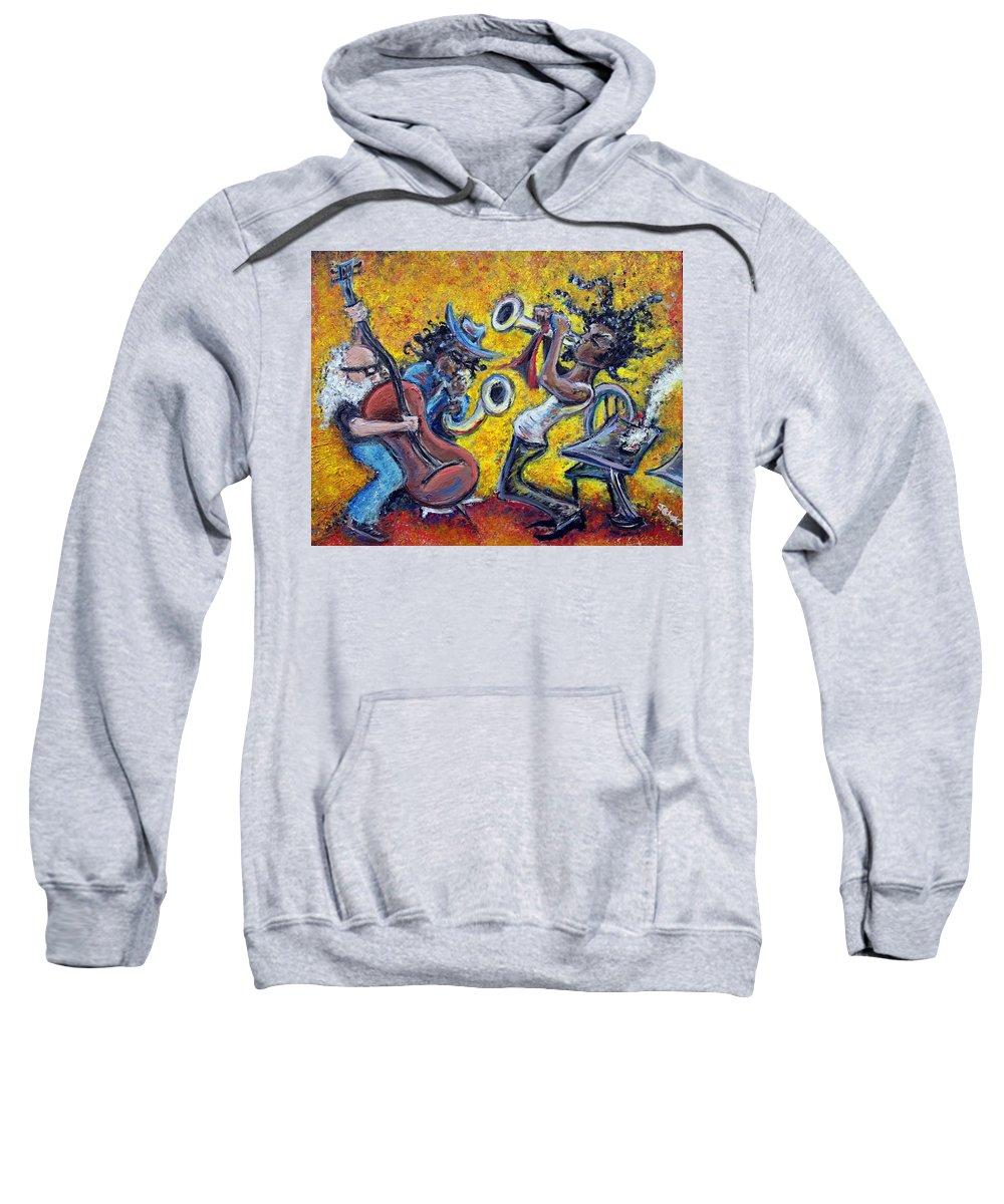 Jazz Music Art Black Musician Sweatshirt featuring the painting The Jazz Trio by Jason Gluskin