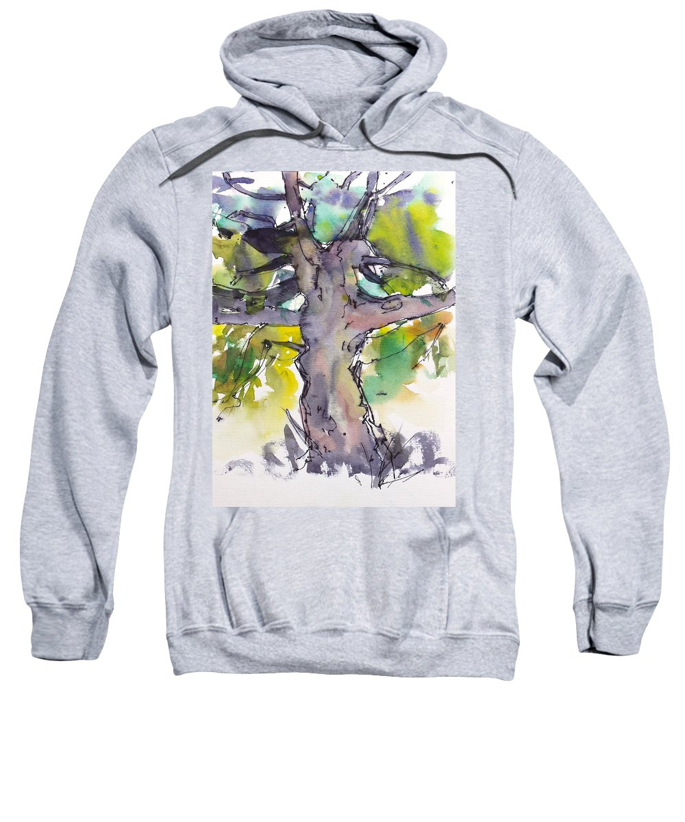 Happy Tree Sweatshirt featuring the painting The Jolly Giant by Ibolya Taligas