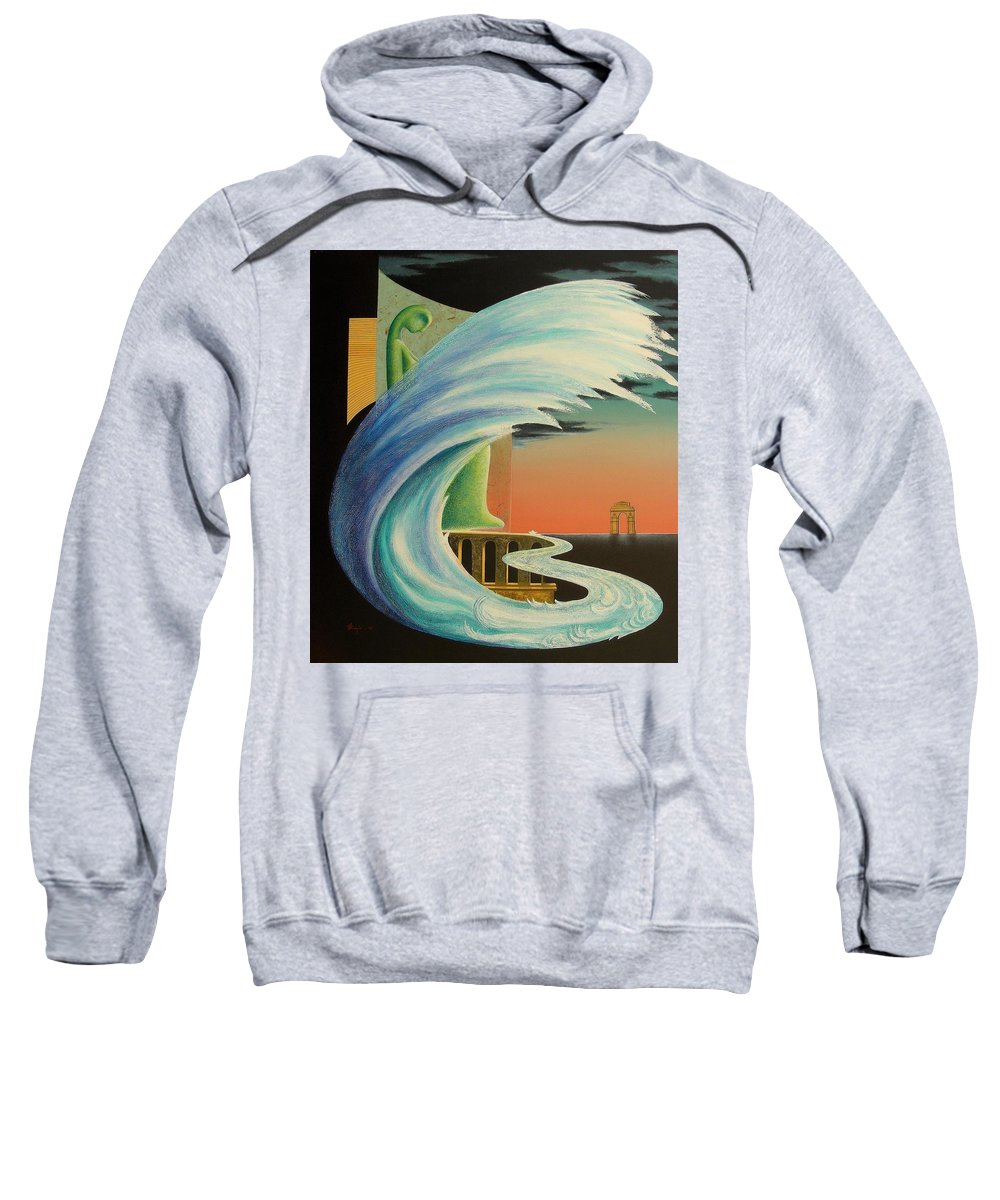 Romantic Sweatshirt featuring the painting The Journy-17 by Raju Bose