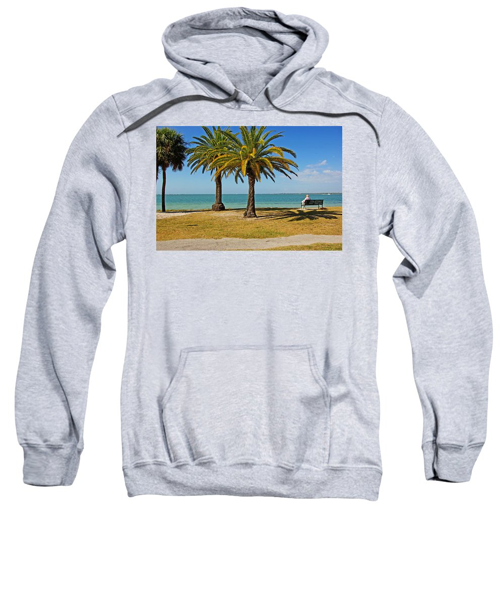 Sea Sweatshirt featuring the photograph The Joy Of Sea And Palms by Zal Latzkovich
