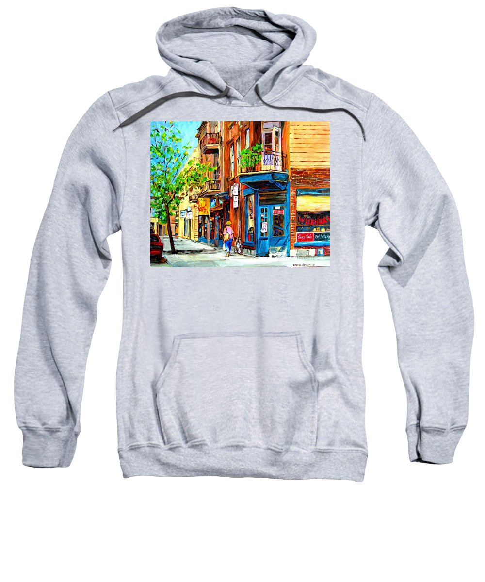 Wilenskys Sweatshirt featuring the painting The Lady In Pink by Carole Spandau