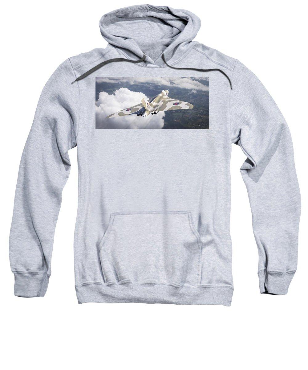 Cinema4d Aerial Air Aviation Avro British Cinema Digital Falkland Force Raf Vulcan War Antonis Xh558 Karidis Art Sweatshirt featuring the digital art The Last Flight Of The Vulcan by Antonis Karidis