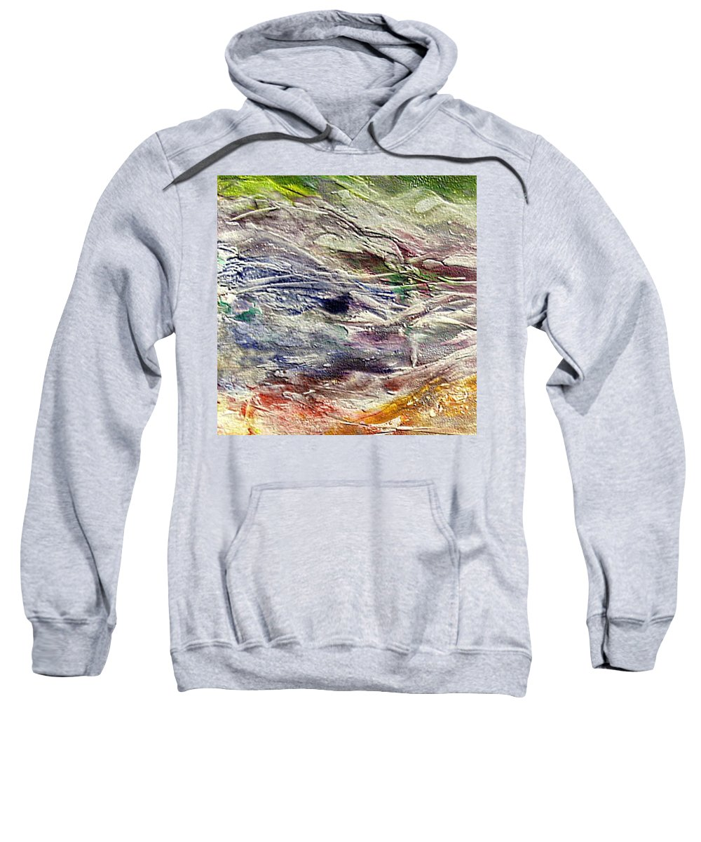 Last Snow Sweatshirt featuring the painting The Last Snow by Dragica Micki Fortuna