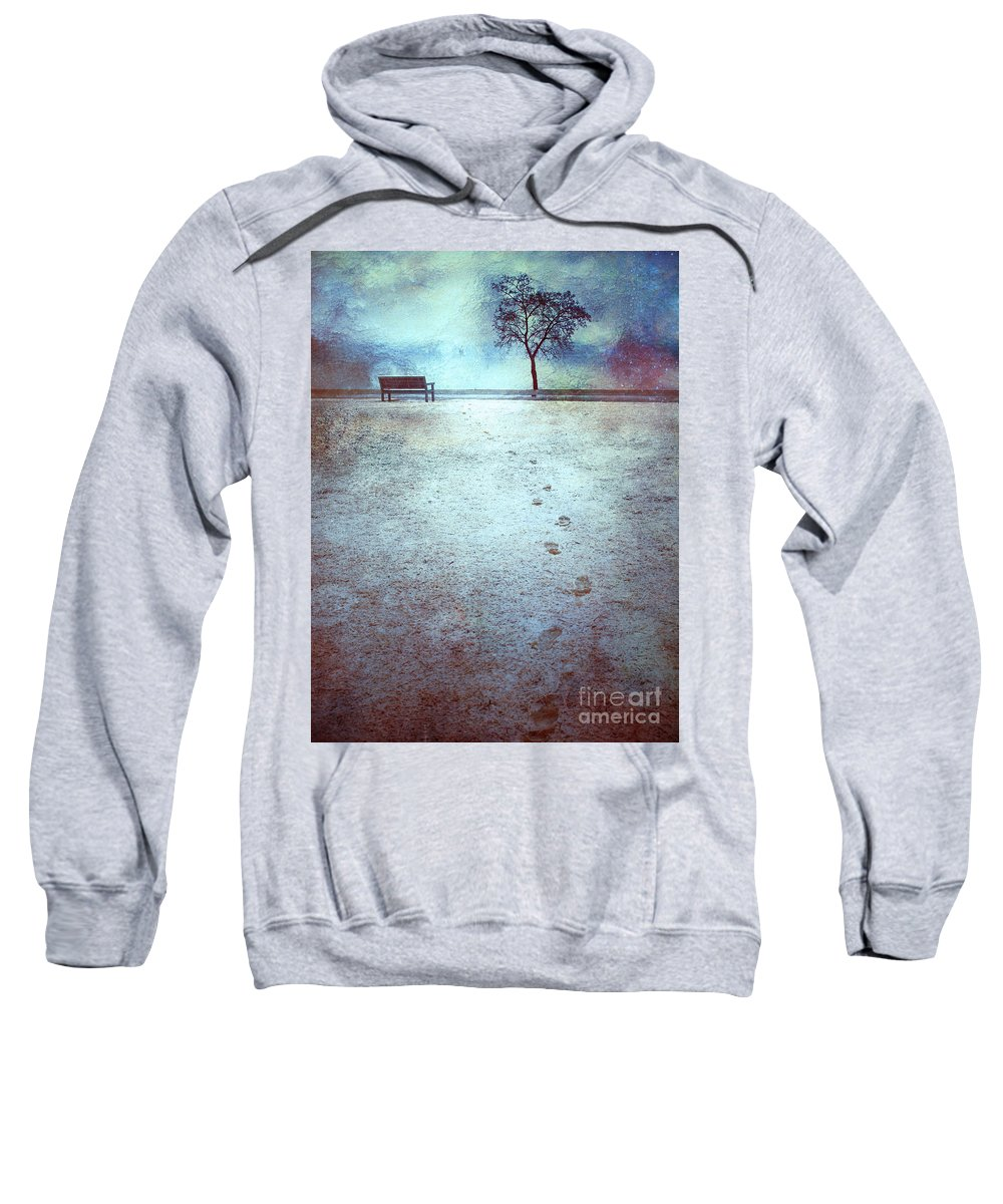 Bench Sweatshirt featuring the photograph The Last Snowfall by Tara Turner