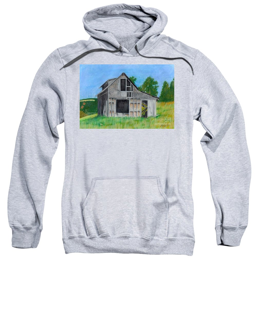 Nature Sweatshirt featuring the pastel The Last Stage Stop by Mendy Pedersen