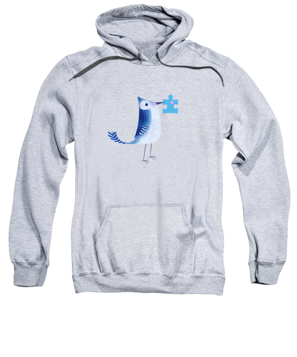 Bird Sweatshirt featuring the digital art The Letter Blue J by Valerie Drake Lesiak