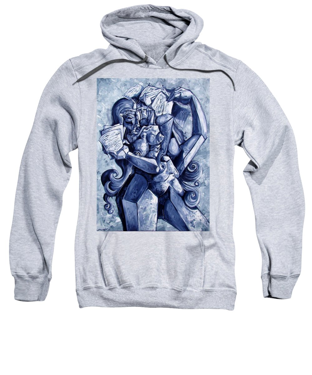 Surrealism Sweatshirt featuring the painting The Letters by Darwin Leon