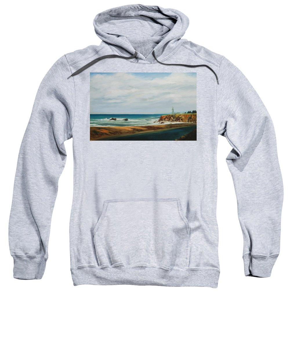 Seascape Sweatshirt featuring the painting The Light House by Rick Nederlof