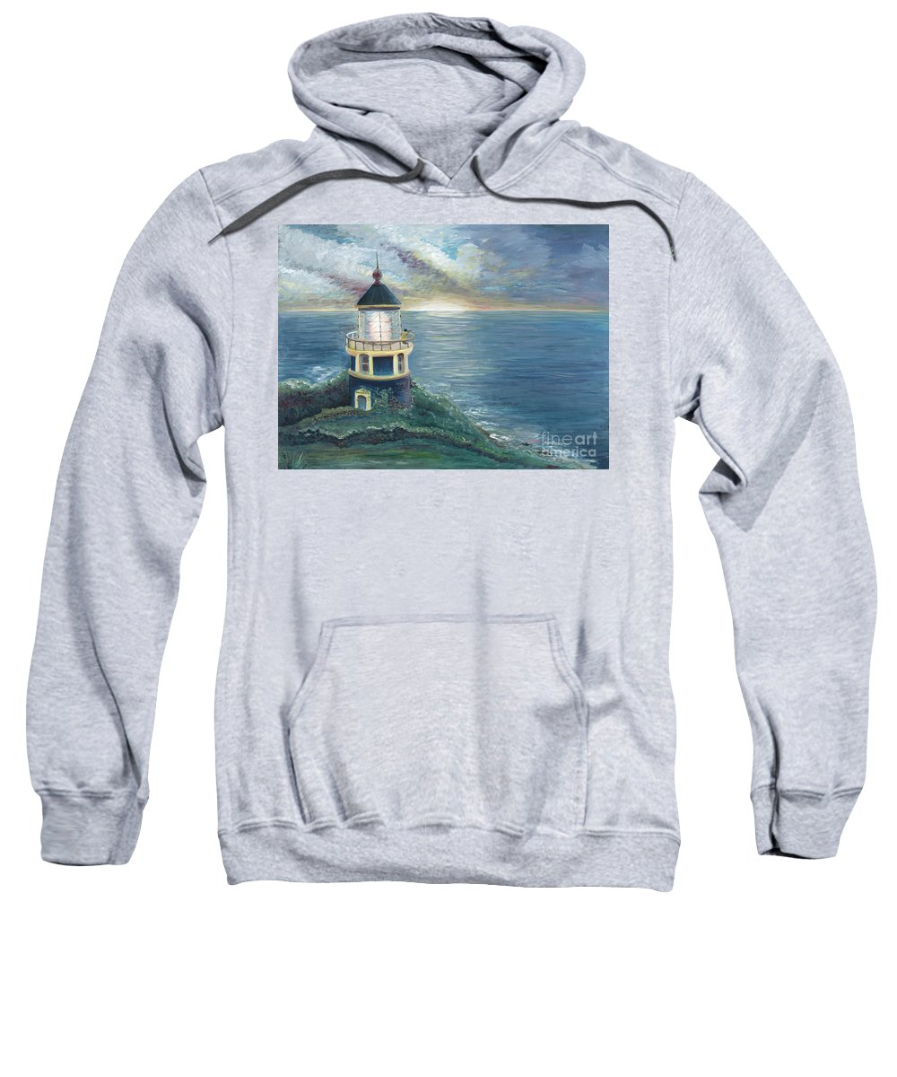 Lighthouse Sweatshirt featuring the painting The Lighthouse by Nadine Rippelmeyer