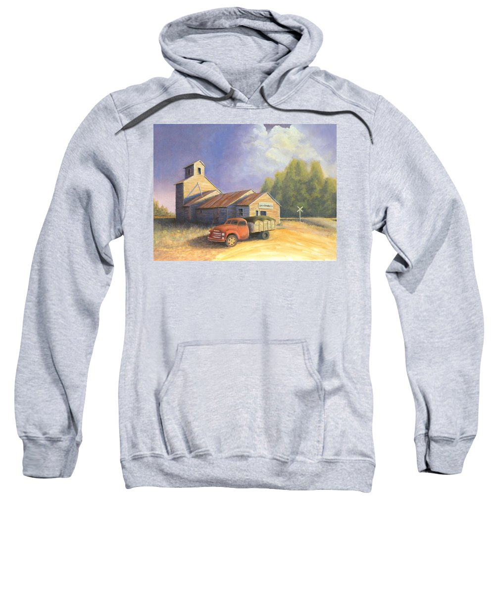Nebraska Sweatshirt featuring the painting The Lisco Elevator by Jerry McElroy