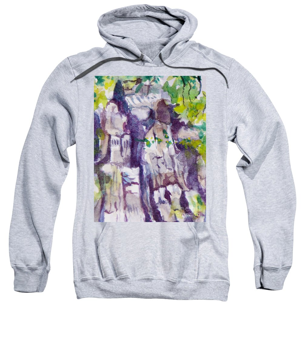 Purple Sweatshirt featuring the painting The Little Climbing Wall by Jan Bennicoff