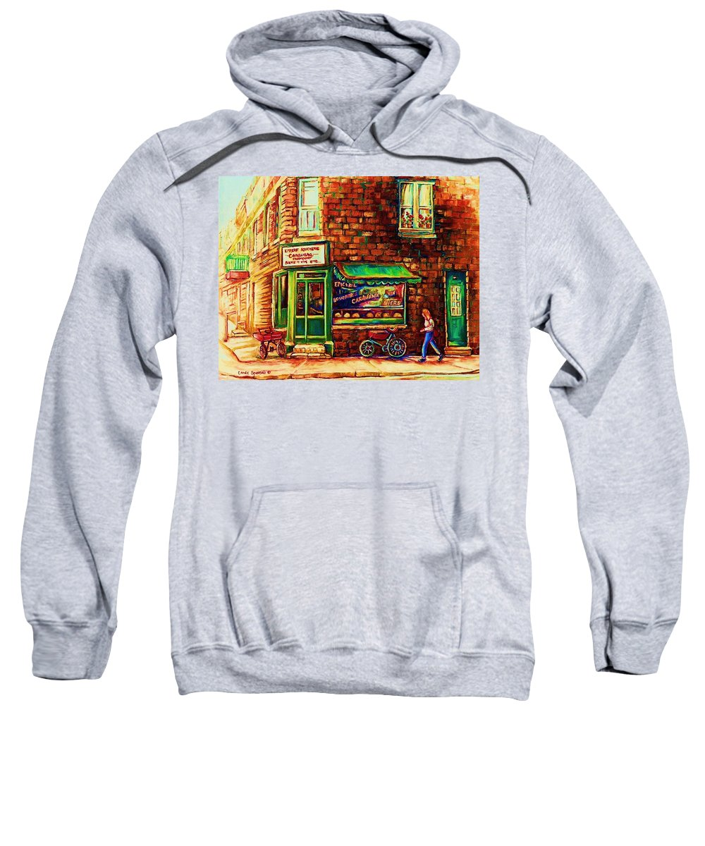 Montreal Sweatshirt featuring the painting The Little Red Wagon by Carole Spandau