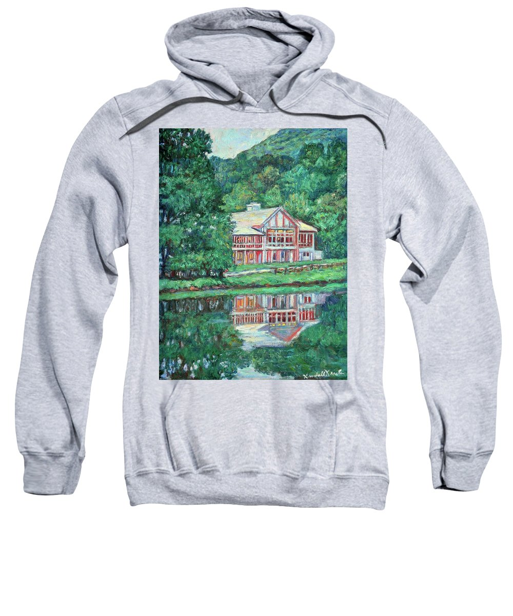 Lodge Paintings Sweatshirt featuring the painting The Lodge At Peaks Of Otter by Kendall Kessler