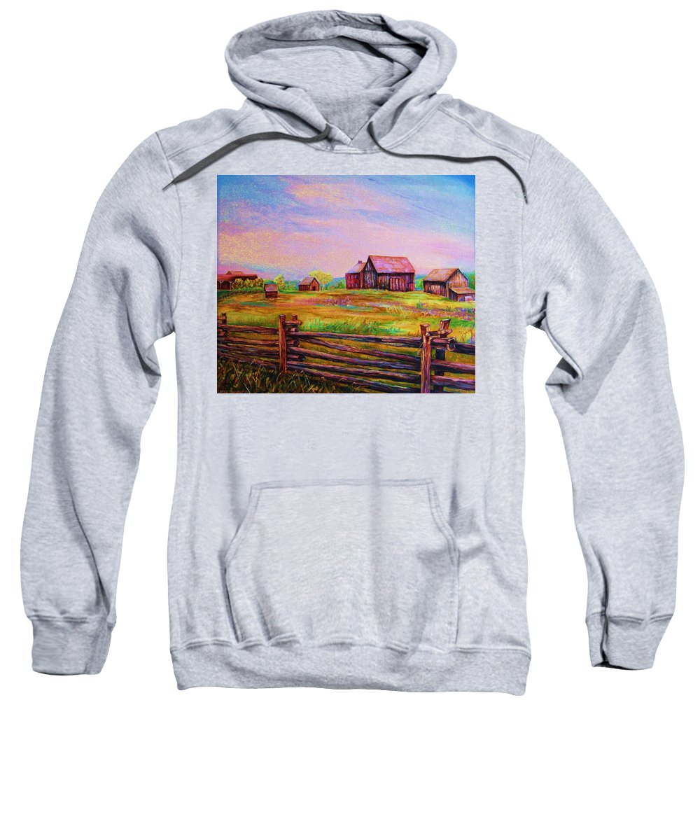 Ranches Sweatshirt featuring the painting The Log Fence by Carole Spandau