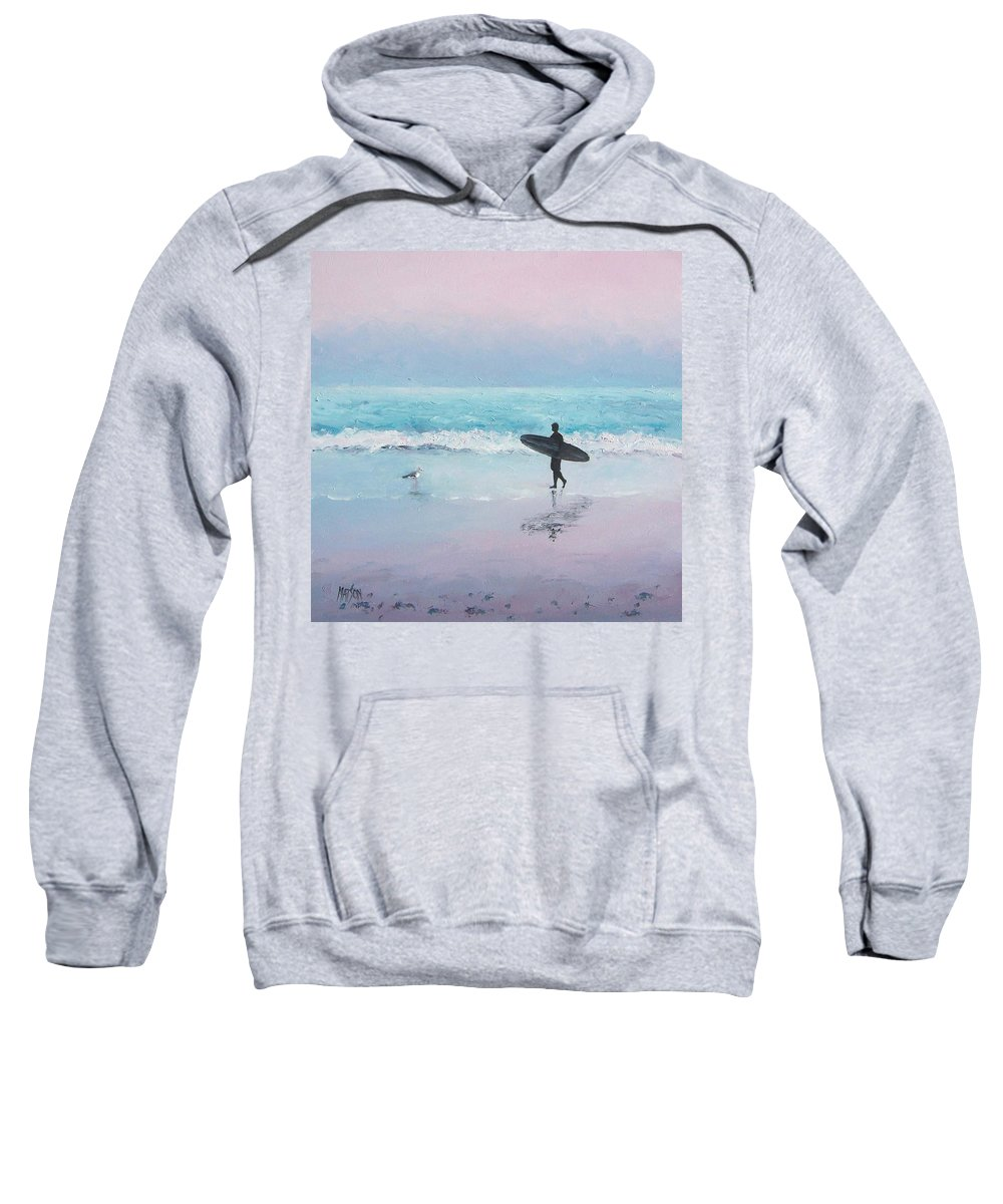 Beach Sweatshirt featuring the painting The Lone Surfer 2 by Jan Matson