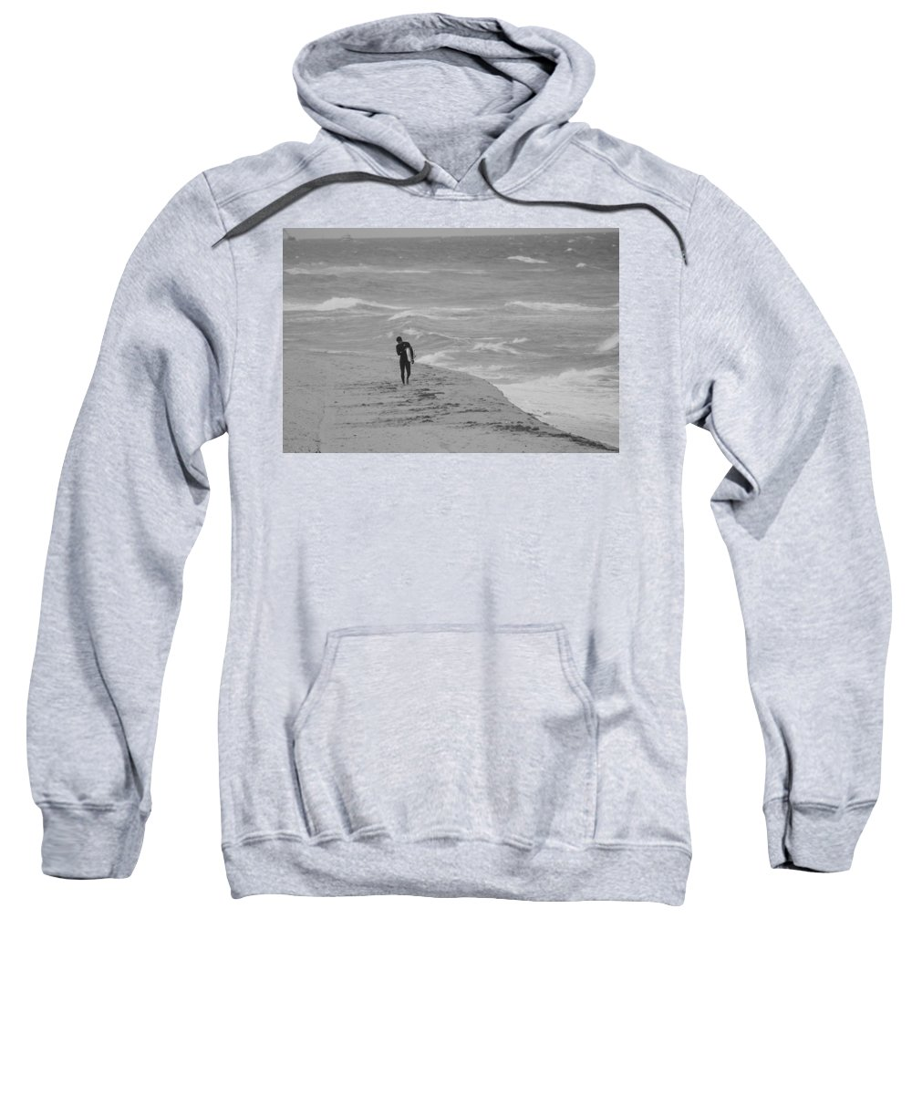 Black And White Sweatshirt featuring the photograph The Lonely Surfer Dude by Rob Hans
