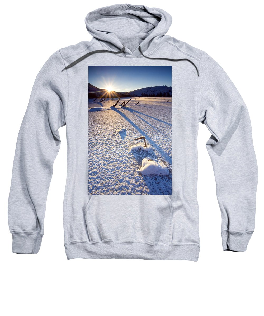 Sunrise Sweatshirt featuring the photograph The Long Shadows Of Winter by Mike Dawson