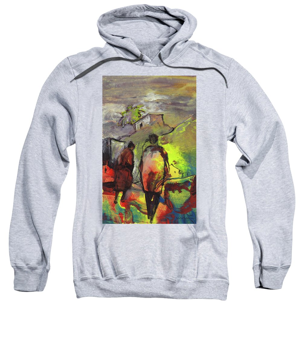 Impressionism Sweatshirt featuring the painting The Long Way Home by Miki De Goodaboom