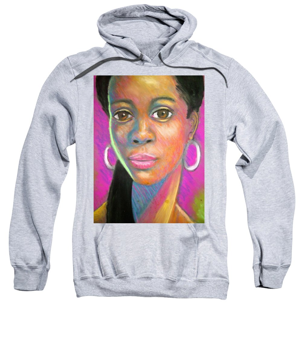 Portrait Sweatshirt featuring the drawing The Look by Jan Gilmore