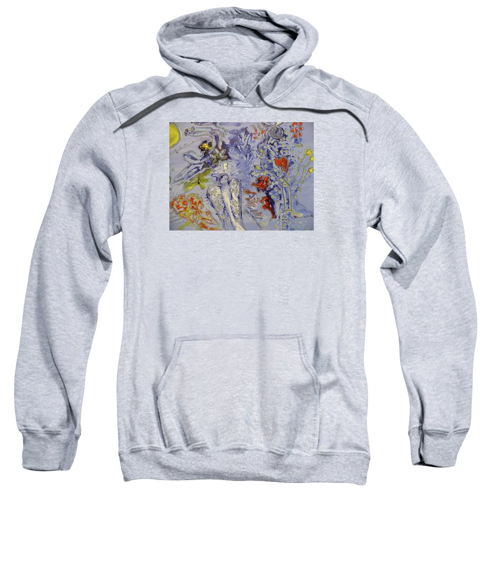 Une Jolie Mariée Sweatshirt featuring the painting The Lovers In Blue by Coco de la garrigue