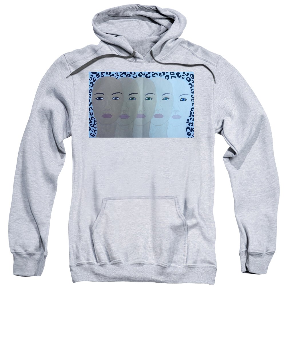 People Sweatshirt featuring the painting The Many Faces Of The World by Tatyana N