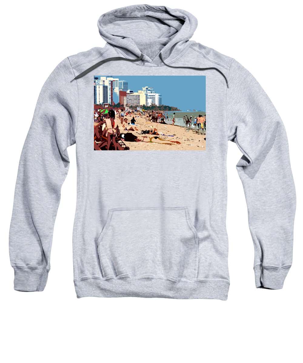 Miami Beach Florida Sweatshirt featuring the photograph The Miami Beach by David Lee Thompson