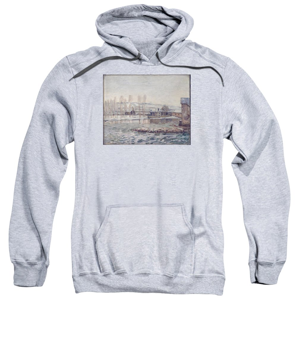 The Mills At Moret Sweatshirt featuring the painting The Mills At Moret by MotionAge Designs