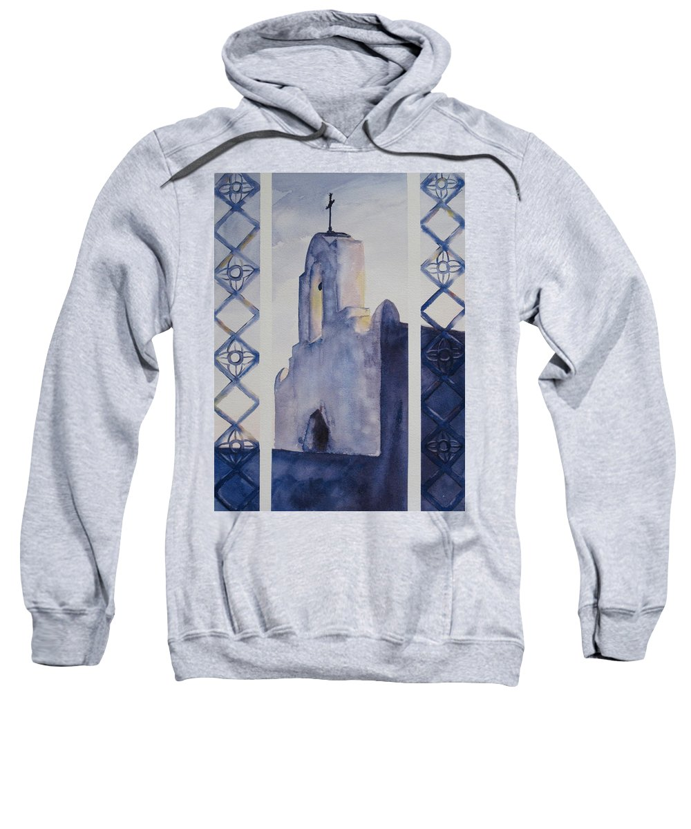 Texas Mission Sweatshirt featuring the painting The Mission In Evening Shadow by Karen Boudreaux