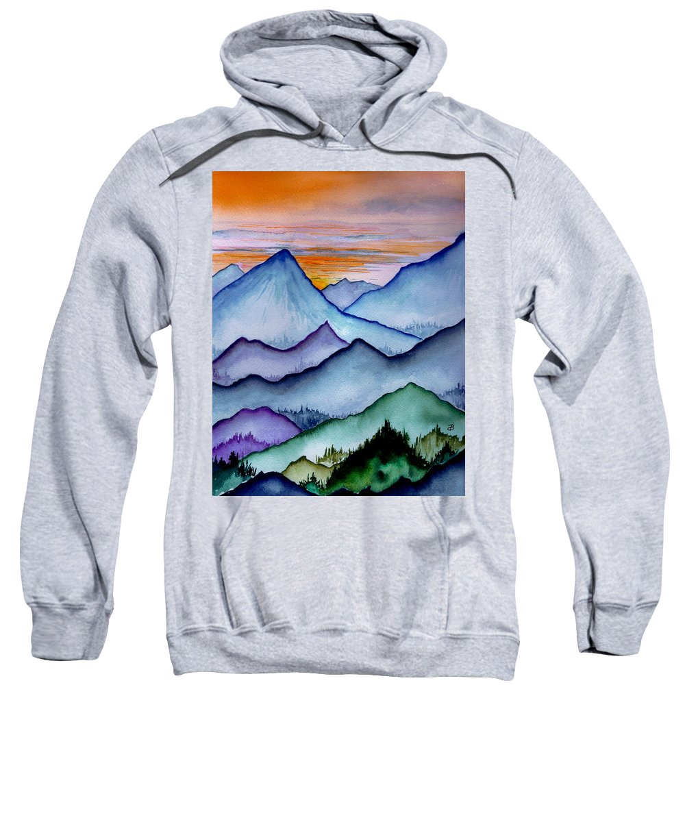 Landscape Sweatshirt featuring the painting The Misty Mountains by Brenda Owen