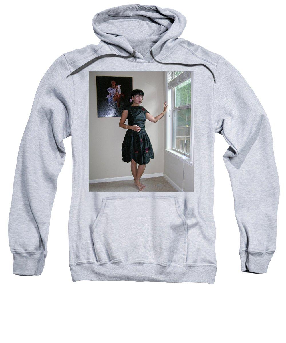 The Model And The Painting Sweatshirt featuring the photograph The Model And The Painting by Thu Nguyen