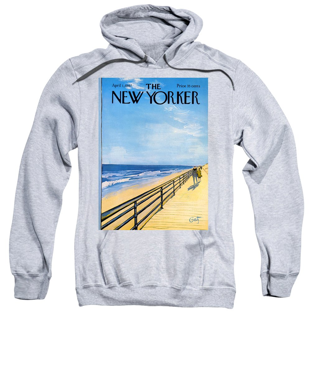 Arthur Sweatshirt featuring the painting The New Yorker Cover - April 1st, 1967 by Arthur Getz