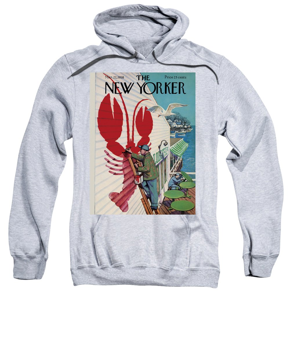 Food Sweatshirt featuring the painting New Yorker March 22, 1958 by Arthur Getz