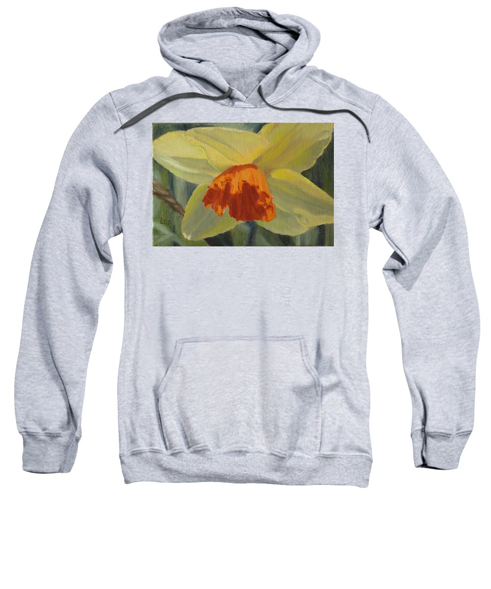 Flower Sweatshirt featuring the painting The Nodding Daffodil by Lea Novak