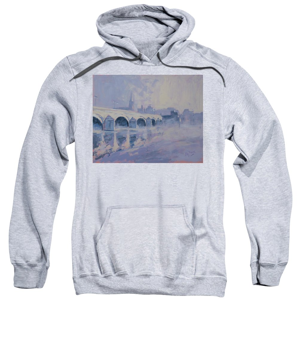 Maastricht Sweatshirt featuring the painting The Old Bridge In Morning Fog Maastricht by Nop Briex