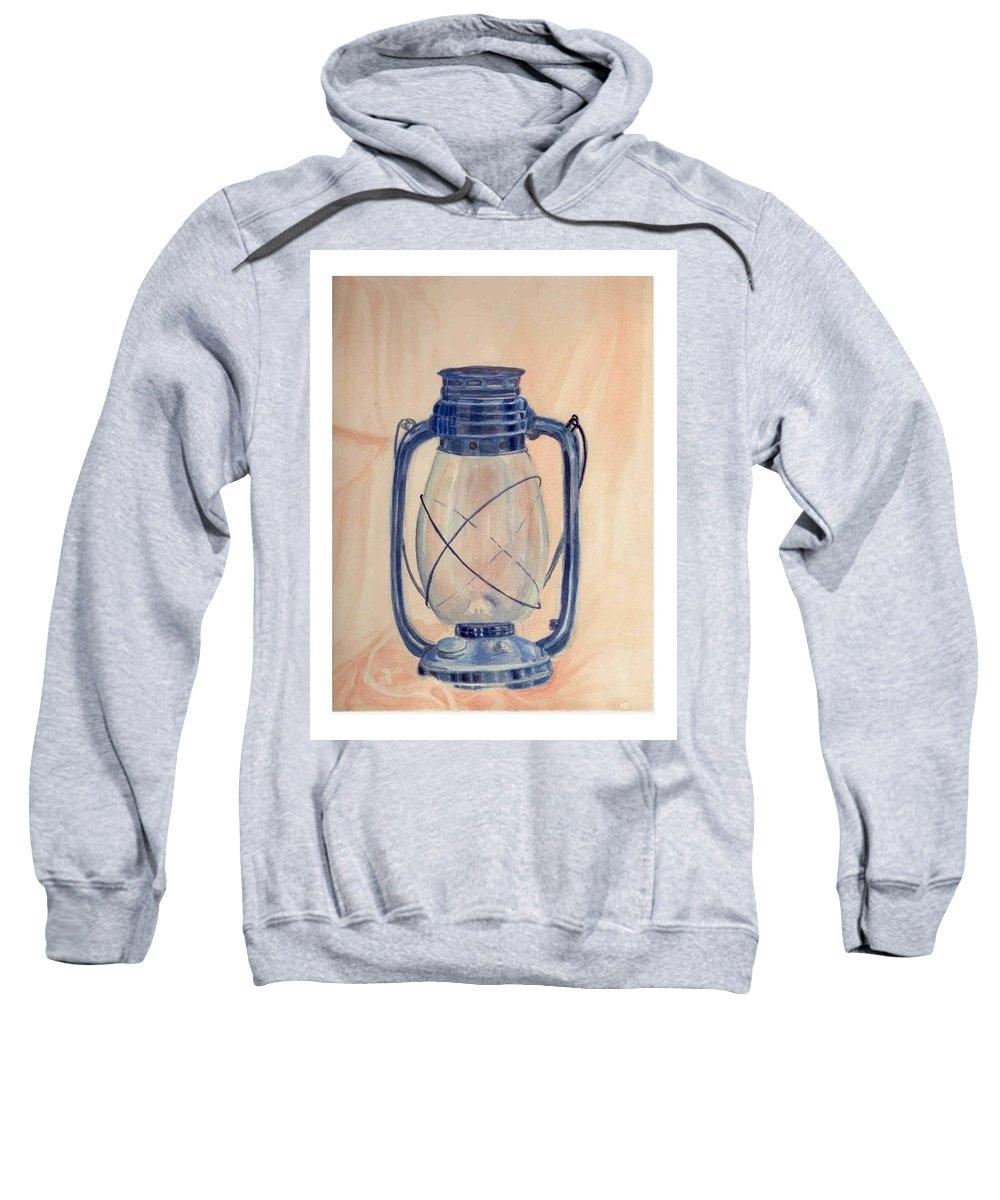 Lantern Sweatshirt featuring the painting The Old Lantern by Asha Sudhaker Shenoy